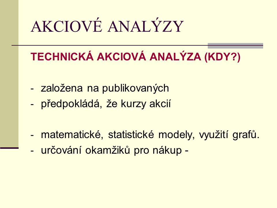 AKCIOVÉ ANALÝZY TECHNICKÁ AKCIOVÁ ANALÝZA (KDY?) - založena na publikovaných - předpokládá, že kurzy akcií - matematické, statistické modely, využití