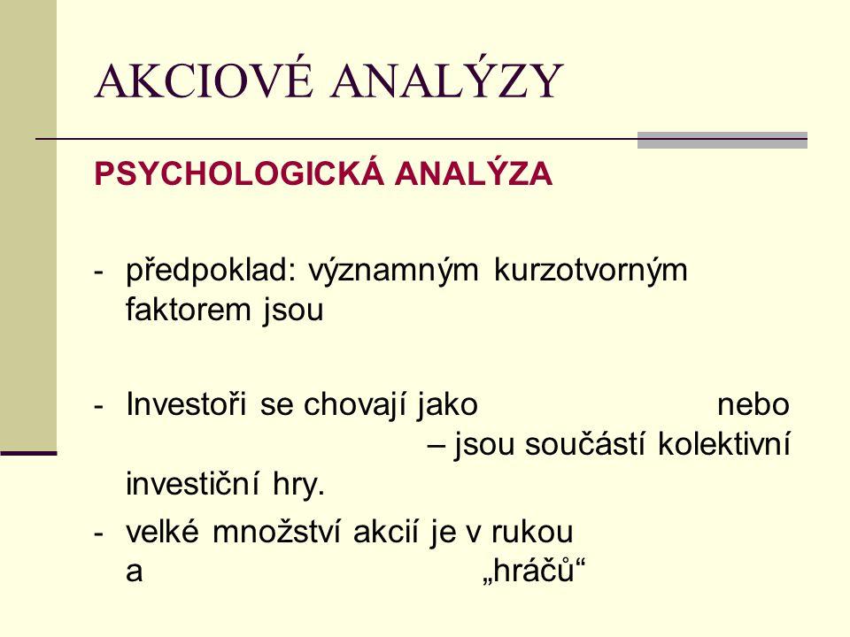 AKCIOVÉ ANALÝZY PSYCHOLOGICKÁ ANALÝZA - předpoklad: významným kurzotvorným faktorem jsou - Investoři se chovají jako nebo – jsou součástí kolektivní i