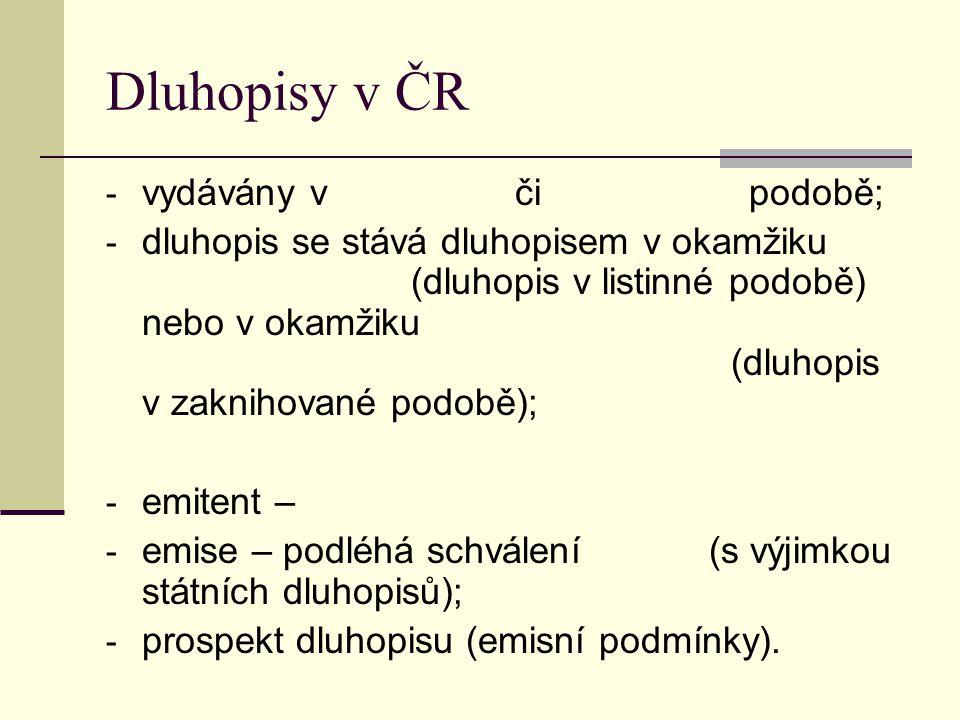 Dluhopisy v ČR - vydávány v či podobě; - dluhopis se stává dluhopisem v okamžiku (dluhopis v listinné podobě) nebo v okamžiku (dluhopis v zaknihované