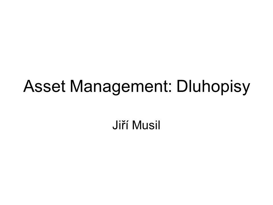 Dluhopisové portfolio Dluhopis sám je portfolio, pokud si oddělíme platby jednotlivých kuponu a jistiny Pokud máme více dluhopisů pak pouze řešíme více plateb kuponu a jistin Portfoliomanažer (si kromě jiného jako např.