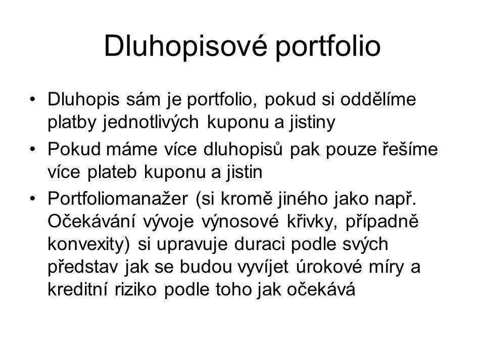 Dluhopisové portfolio Dluhopis sám je portfolio, pokud si oddělíme platby jednotlivých kuponu a jistiny Pokud máme více dluhopisů pak pouze řešíme víc