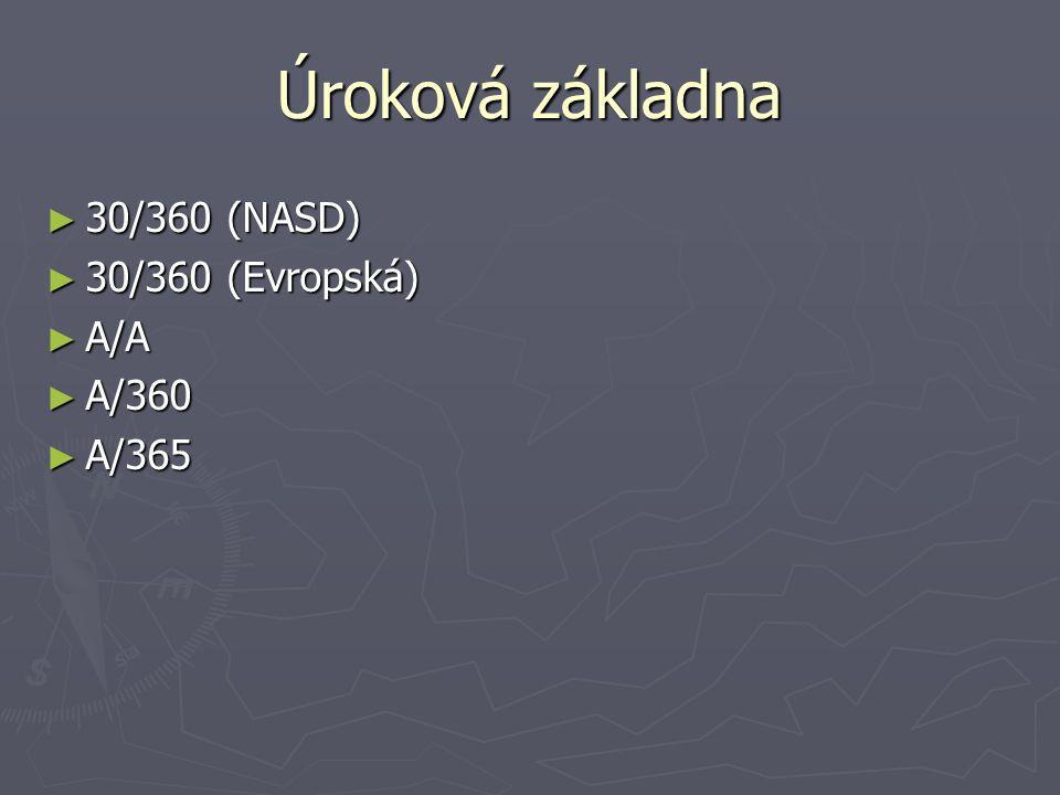 Úroková základna ► 30/360 (NASD) ► 30/360 (Evropská) ► A/A ► A/360 ► A/365