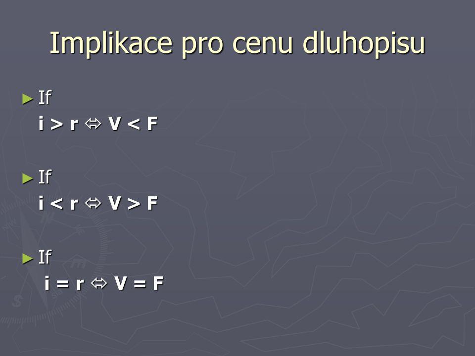 Implikace pro cenu dluhopisu ► If i > r  V r  V < F ► If i F ► If i = r  V = F