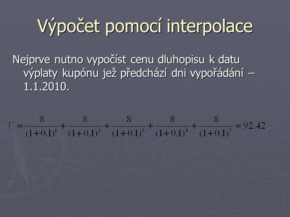 Výpočet pomocí interpolace Nejprve nutno vypočíst cenu dluhopisu k datu výplaty kupónu jež předchází dni vypořádání – 1.1.2010.