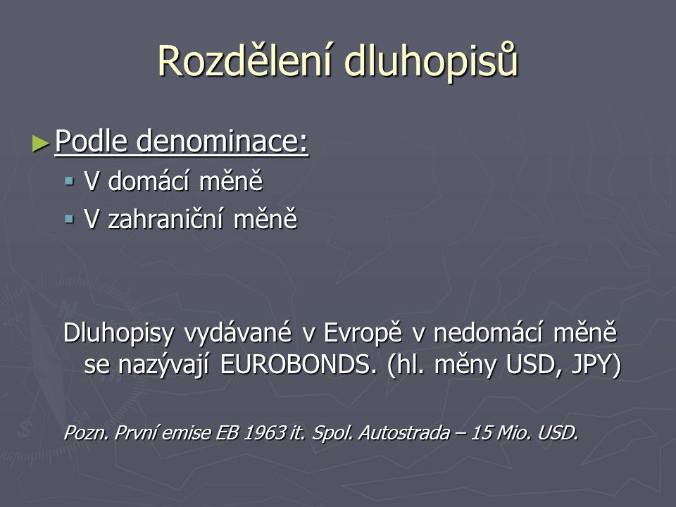 Rozdělení dluhopisů ► Podle denominace:  V domácí měně  V zahraniční měně Dluhopisy vydávané v Evropě v nedomácí měně se nazývají EUROBONDS. (hl. mě