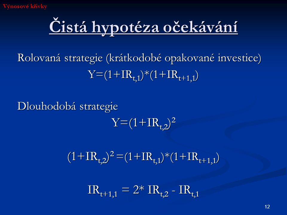 12 Čistá hypotéza očekávání Rolovaná strategie (krátkodobé opakované investice) Y=(1+IR t,1 )*(1+IR t+1,1 ) Dlouhodobá strategie Y=(1+IR t,2 ) 2 (1+IR