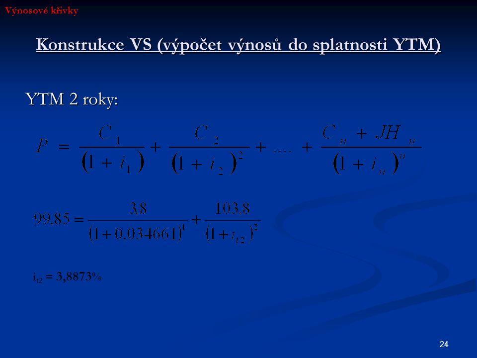 24 Konstrukce VS (výpočet výnosů do splatnosti YTM) YTM 2 roky: i t2 = 3,8873 % Výnosové křivky