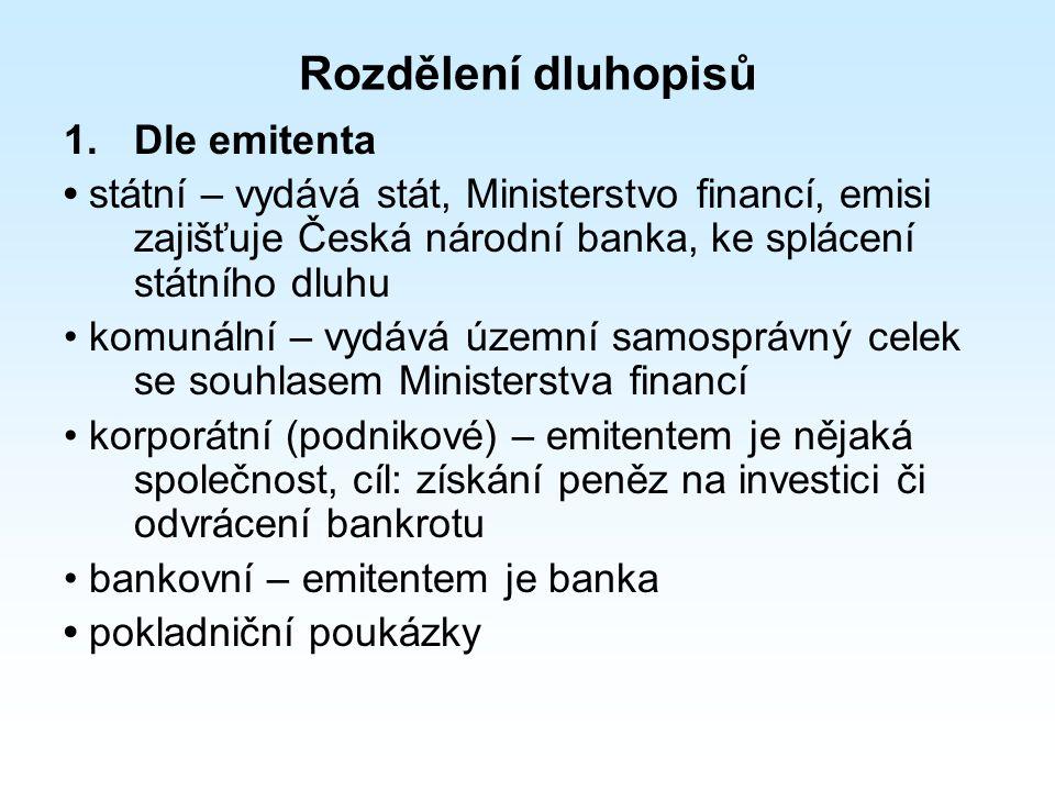 Rozdělení dluhopisů 1.Dle emitenta státní – vydává stát, Ministerstvo financí, emisi zajišťuje Česká národní banka, ke splácení státního dluhu komunální – vydává územní samosprávný celek se souhlasem Ministerstva financí korporátní (podnikové) – emitentem je nějaká společnost, cíl: získání peněz na investici či odvrácení bankrotu bankovní – emitentem je banka pokladniční poukázky