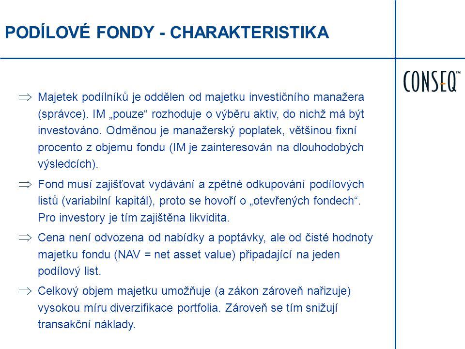 """PODÍLOVÉ FONDY - CHARAKTERISTIKA  Majetek podílníků je oddělen od majetku investičního manažera (správce). IM """"pouze"""" rozhoduje o výběru aktiv, do ni"""