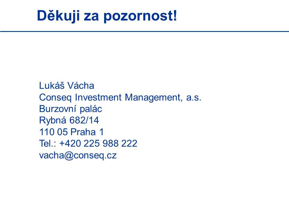 Děkuji za pozornost! Lukáš Vácha Conseq Investment Management, a.s. Burzovní palác Rybná 682/14 110 05 Praha 1 Tel.: +420 225 988 222 vacha@conseq.cz