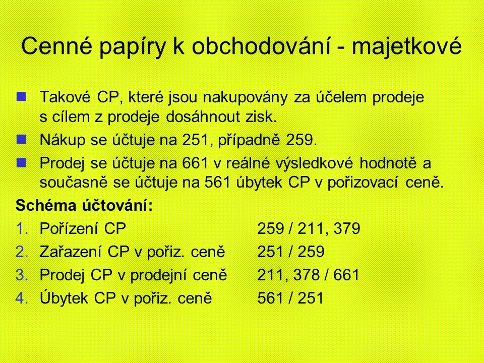 Cenné papíry k obchodování - majetkové Takové CP, které jsou nakupovány za účelem prodeje s cílem z prodeje dosáhnout zisk. Nákup se účtuje na 251, př