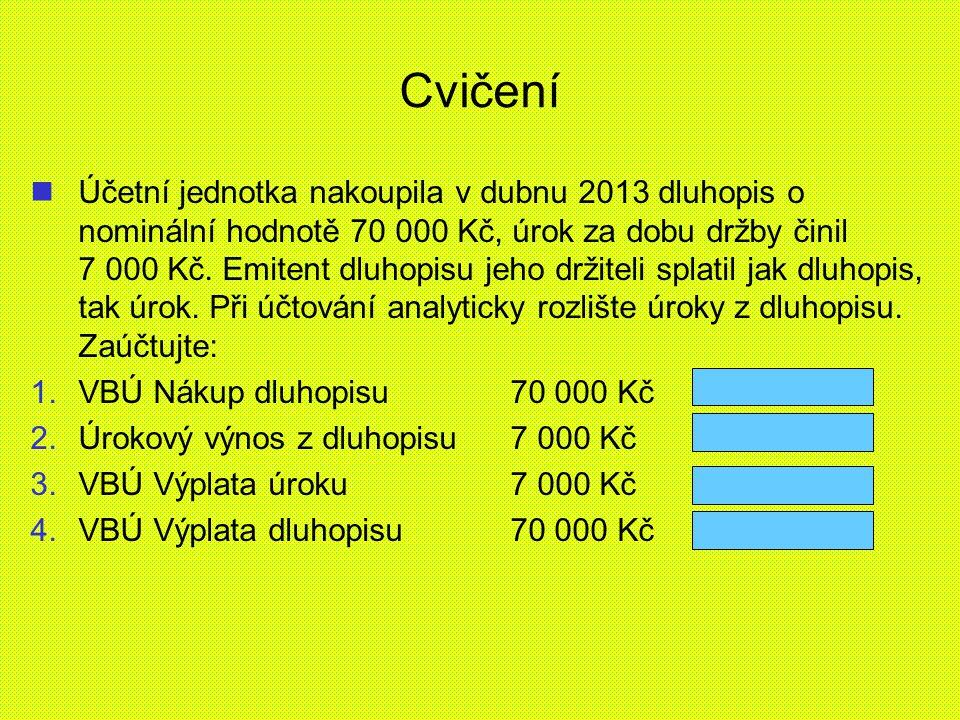 Cvičení Účetní jednotka nakoupila v dubnu 2013 dluhopis o nominální hodnotě 70 000 Kč, úrok za dobu držby činil 7 000 Kč. Emitent dluhopisu jeho držit