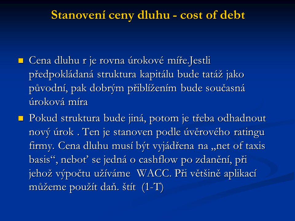 Cena dluhu r je rovna úrokové míře.Jestli předpokládaná struktura kapitálu bude tatáž jako původní, pak dobrým přiblížením bude současná úroková míra