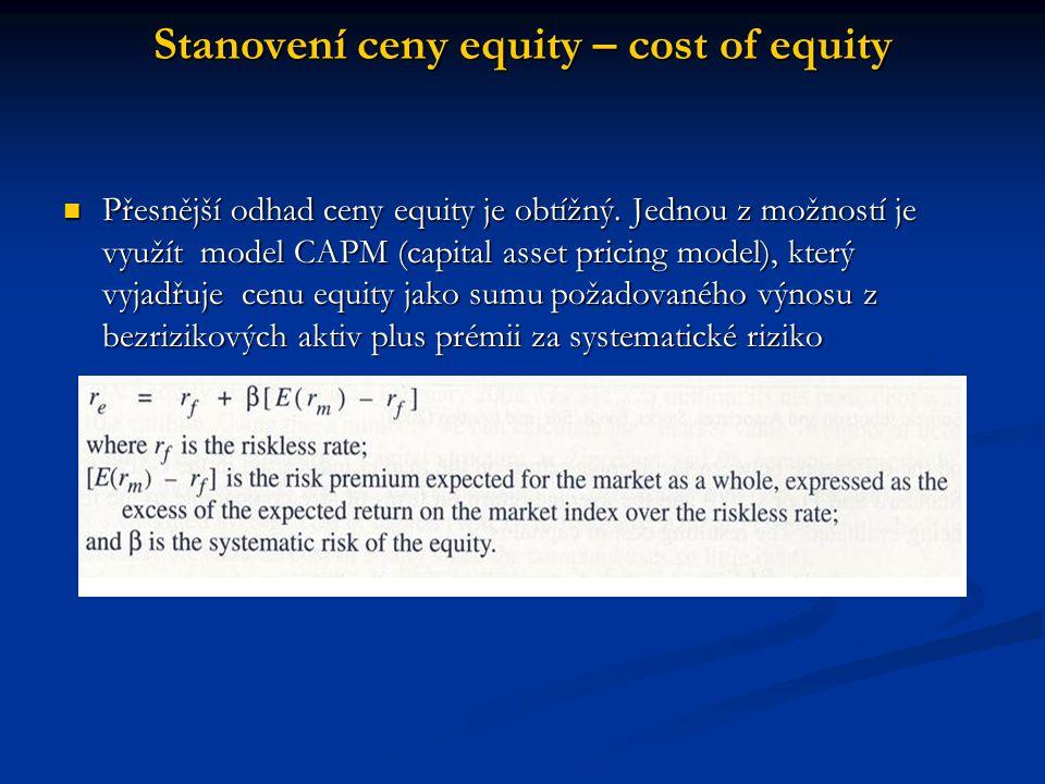 Přesnější odhad ceny equity je obtížný. Jednou z možností je využít model CAPM (capital asset pricing model), který vyjadřuje cenu equity jako sumu po