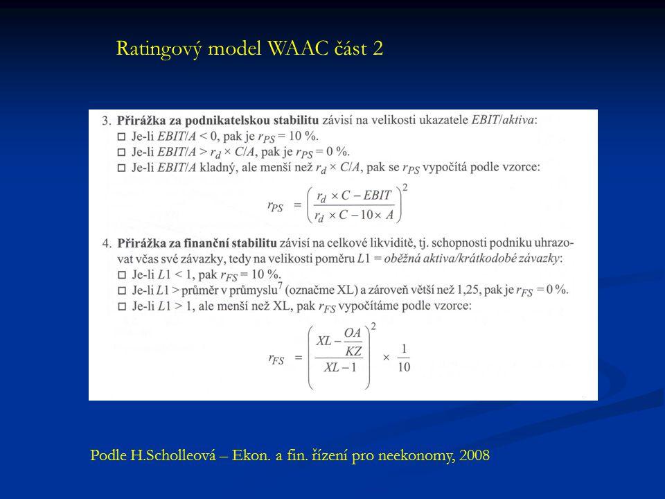 Ratingový model WAAC část 2 Podle H.Scholleová – Ekon. a fin. řízení pro neekonomy, 2008