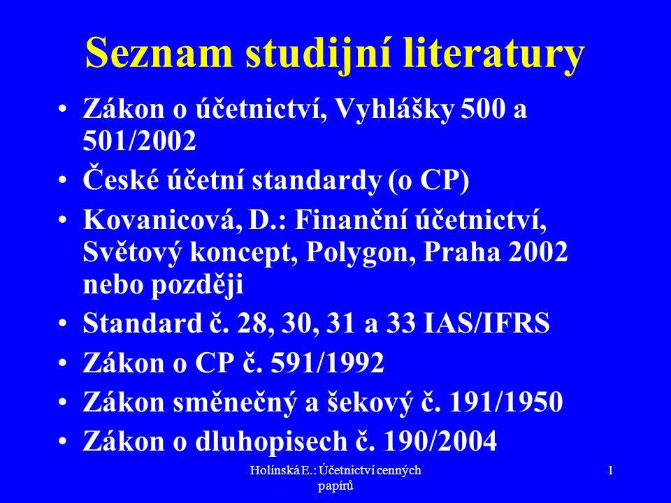 Holínská E.: Účetnictví cenných papírů 12 Účtování o vzniku a.s.