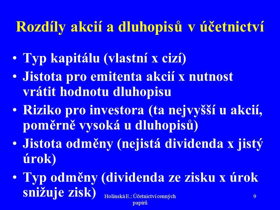 Holínská E.: Účetnictví cenných papírů 20 Emisní ážio v a.s.