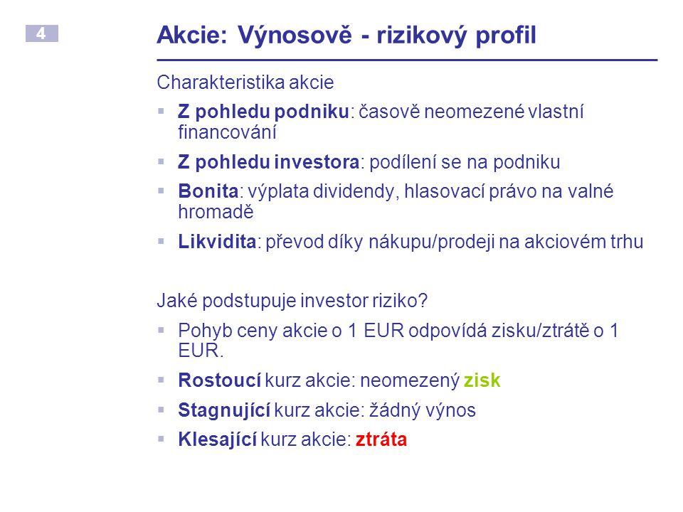 4 Akcie: Výnosově - rizikový profil Charakteristika akcie  Z pohledu podniku: časově neomezené vlastní financování  Z pohledu investora: podílení se
