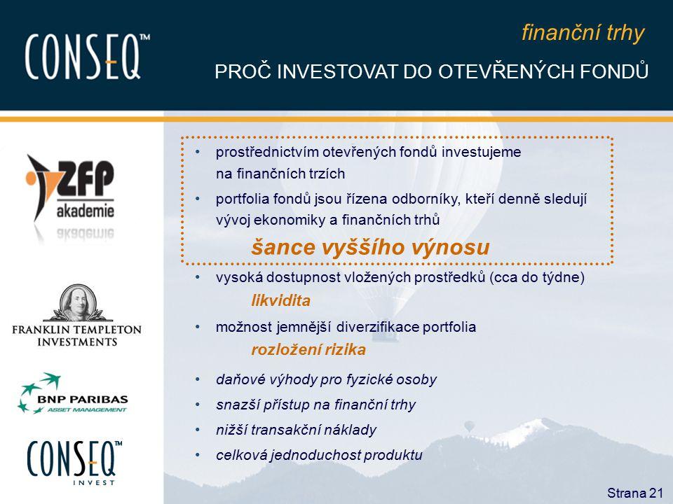 Strana 21 prostřednictvím otevřených fondů investujeme na finančních trzích portfolia fondů jsou řízena odborníky, kteří denně sledují vývoj ekonomiky