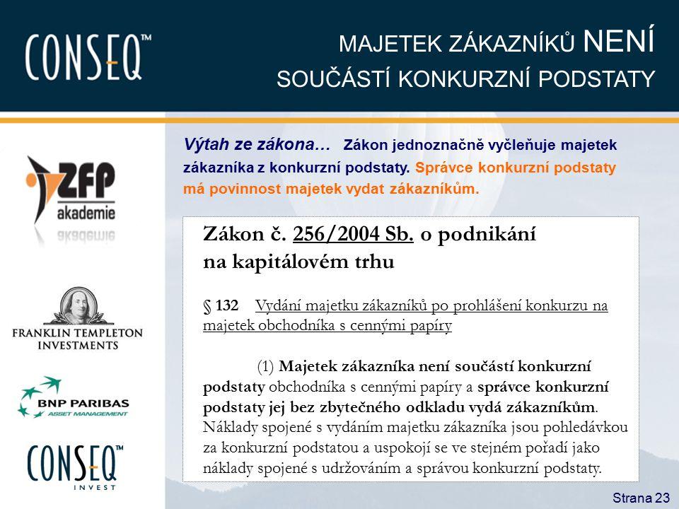 Strana 23 MAJETEK ZÁKAZNÍKŮ NENÍ SOUČÁSTÍ KONKURZNÍ PODSTATY Zákon č. 256/2004 Sb. o podnikání na kapitálovém trhu § 132 Vydání majetku zákazníků po p