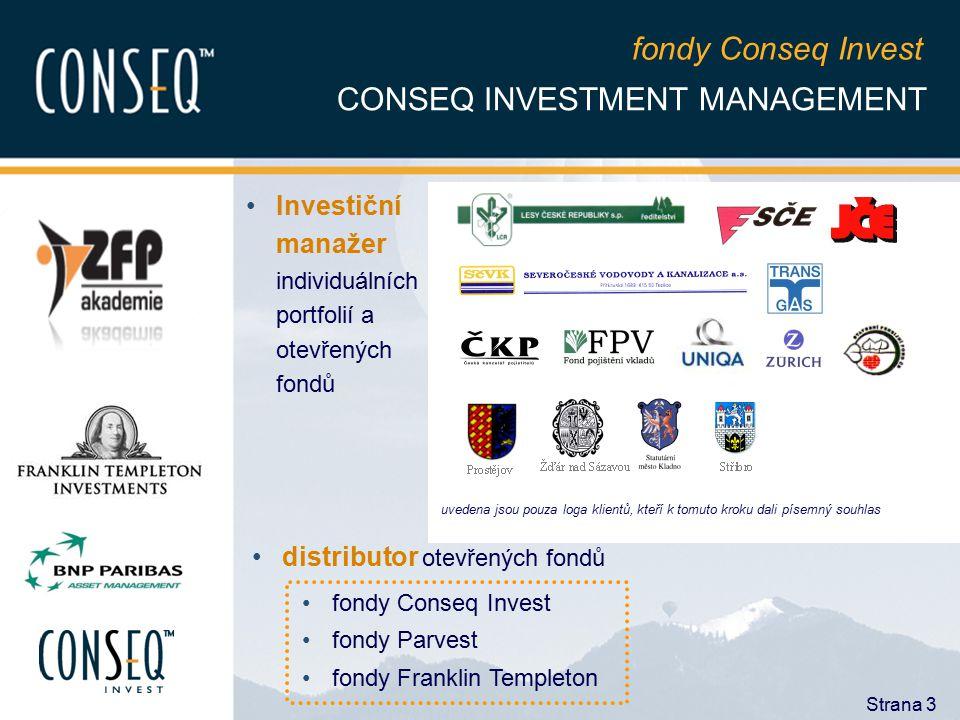 Strana 3 CONSEQ INVESTMENT MANAGEMENT Investiční manažer individuálních portfolií a otevřených fondů distributor otevřených fondů fondy Conseq Invest