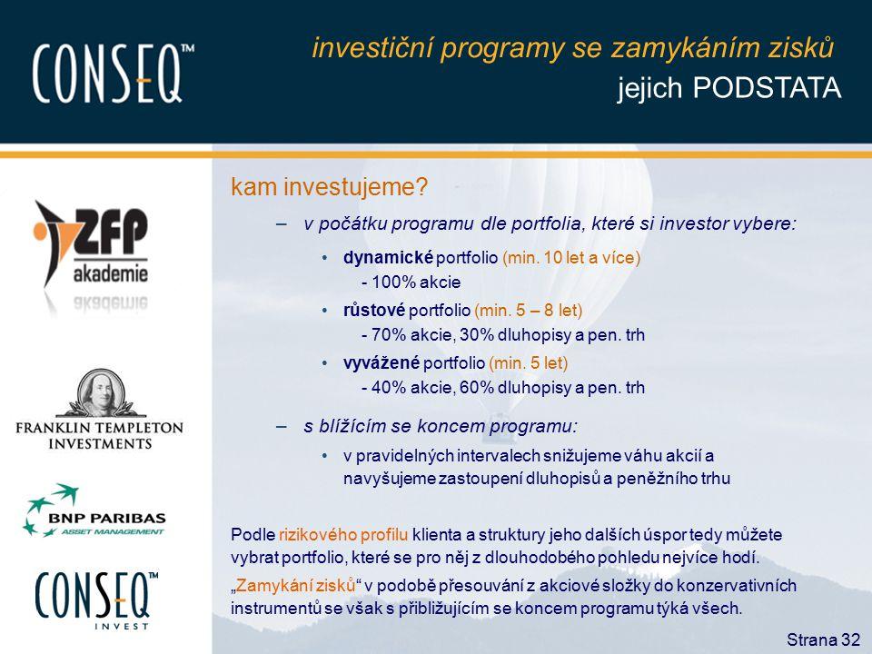 Strana 32 kam investujeme? –v počátku programu dle portfolia, které si investor vybere: dynamické portfolio (min. 10 let a více) - 100% akcie růstové