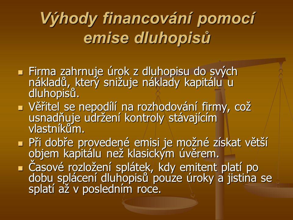 Výhody financování pomocí emise dluhopisů Firma zahrnuje úrok z dluhopisu do svých nákladů, který snižuje náklady kapitálu u dluhopisů. Firma zahrnuje