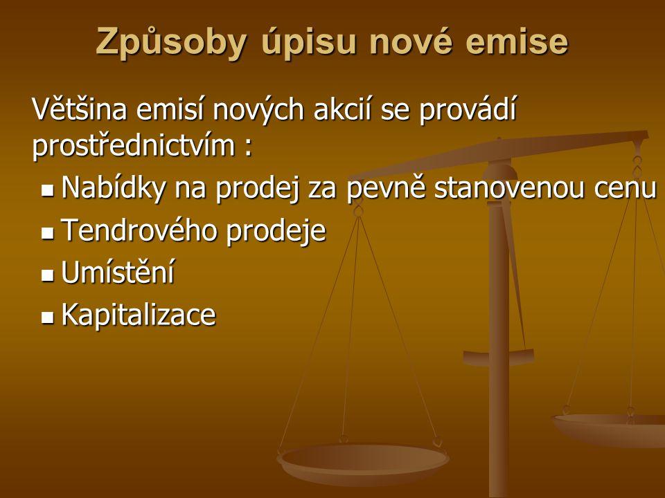 Emise dluhopisů Problematika dluhopisů je v ČR řešena zákonem č.190/2004 Sb.