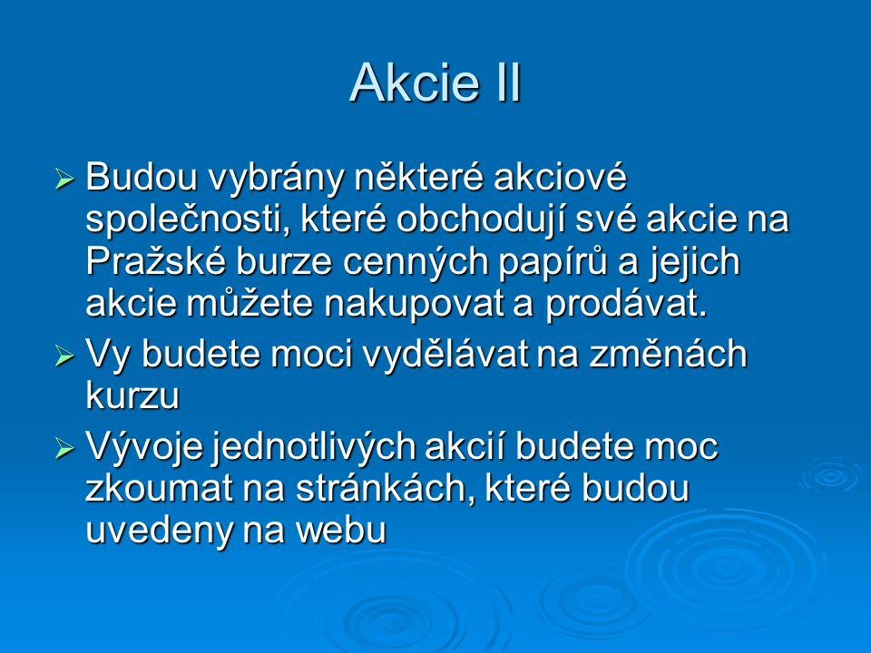Akcie II  Budou vybrány některé akciové společnosti, které obchodují své akcie na Pražské burze cenných papírů a jejich akcie můžete nakupovat a prodávat.