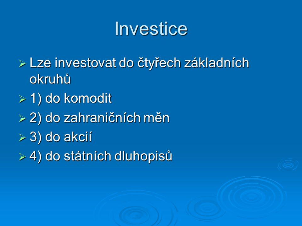 Investice  Lze investovat do čtyřech základních okruhů  1) do komodit  2) do zahraničních měn  3) do akcií  4) do státních dluhopisů