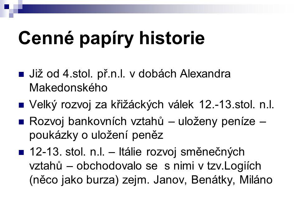 Cenné papíry historie Již od 4.stol.př.n.l.