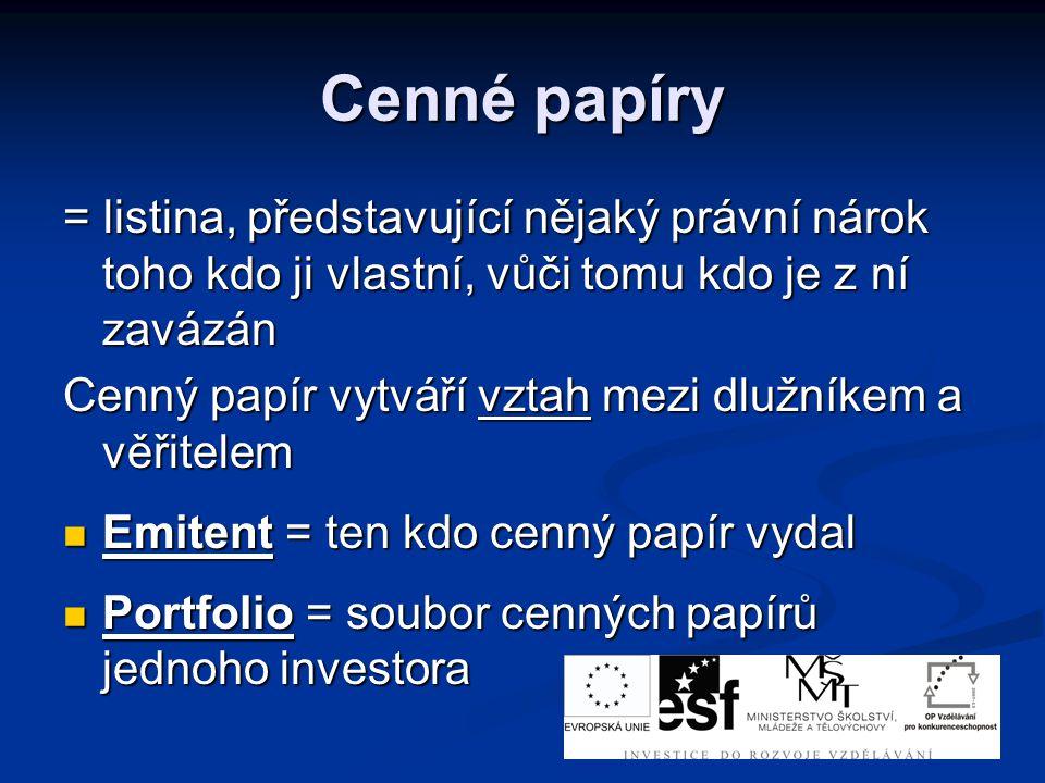 Cenné papíry = listina, představující nějaký právní nárok toho kdo ji vlastní, vůči tomu kdo je z ní zavázán Cenný papír vytváří vztah mezi dlužníkem a věřitelem Emitent = ten kdo cenný papír vydal Emitent = ten kdo cenný papír vydal Portfolio = soubor cenných papírů jednoho investora Portfolio = soubor cenných papírů jednoho investora