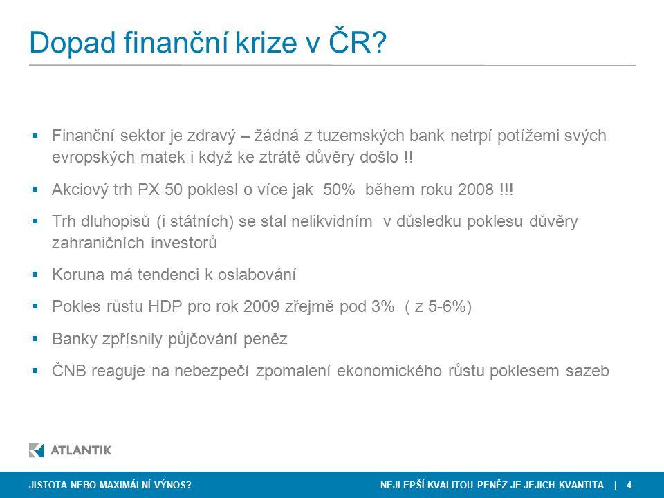 NEJLEPŠÍ KVALITOU PENĚZ JE JEJICH KVANTITA   4 Dopad finanční krize v ČR? JISTOTA NEBO MAXIMÁLNÍ VÝNOS?  Finanční sektor je zdravý – žádná z tuzemský