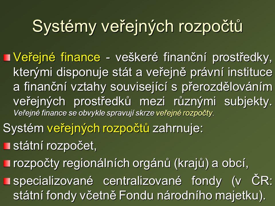 Systémy veřejných rozpočtů Veřejné finance - veškeré finanční prostředky, kterými disponuje stát a veřejně právní instituce a finanční vztahy související s přerozdělováním veřejných prostředků mezi různými subjekty.