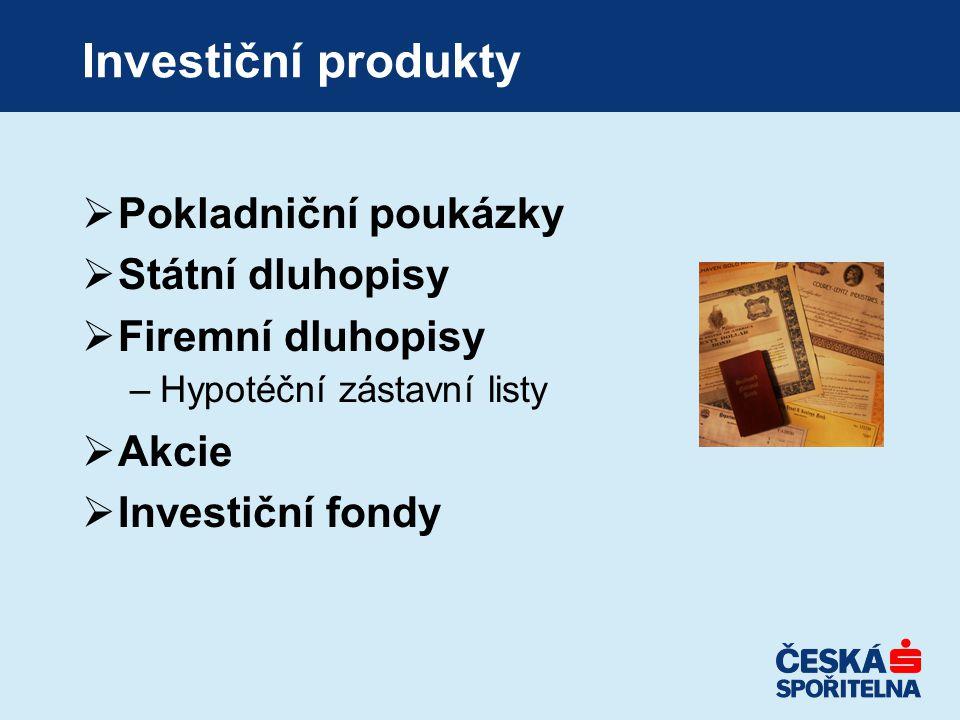 Investiční produkty  Pokladniční poukázky  Státní dluhopisy  Firemní dluhopisy –Hypotéční zástavní listy  Akcie  Investiční fondy