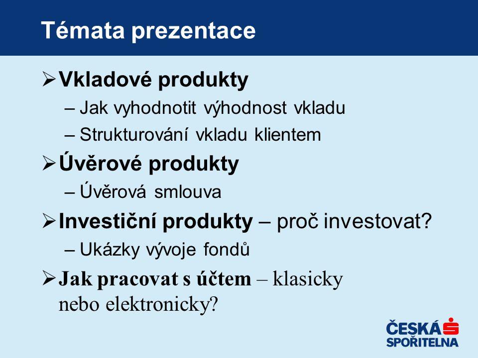 Témata prezentace  Vkladové produkty –Jak vyhodnotit výhodnost vkladu –Strukturování vkladu klientem  Úvěrové produkty –Úvěrová smlouva  Investiční