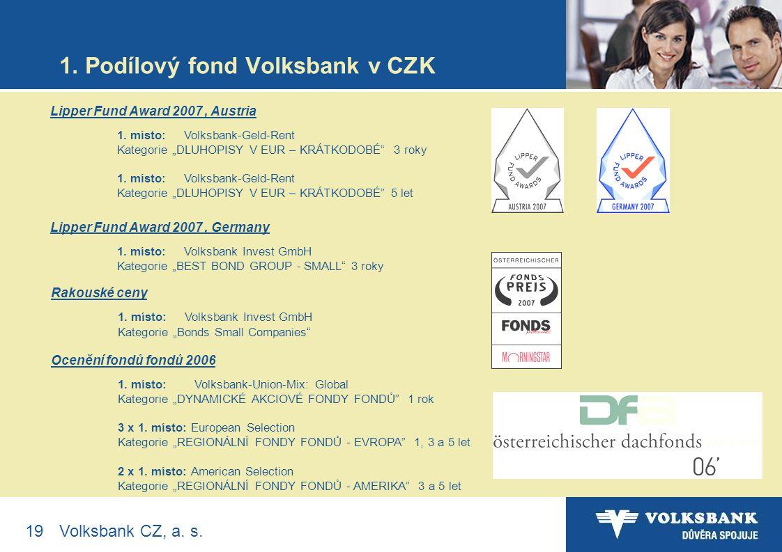 19Volksbank CZ, a. s. 1. Podílový fond Volksbank v CZK Lipper Fund Award 2007, Austria 1.