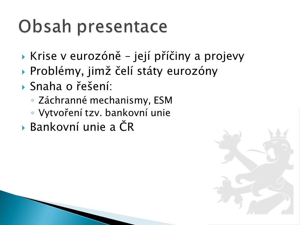  Krise v eurozóně – její příčiny a projevy  Problémy, jimž čelí státy eurozóny  Snaha o řešení: ◦ Záchranné mechanismy, ESM ◦ Vytvoření tzv. bankov