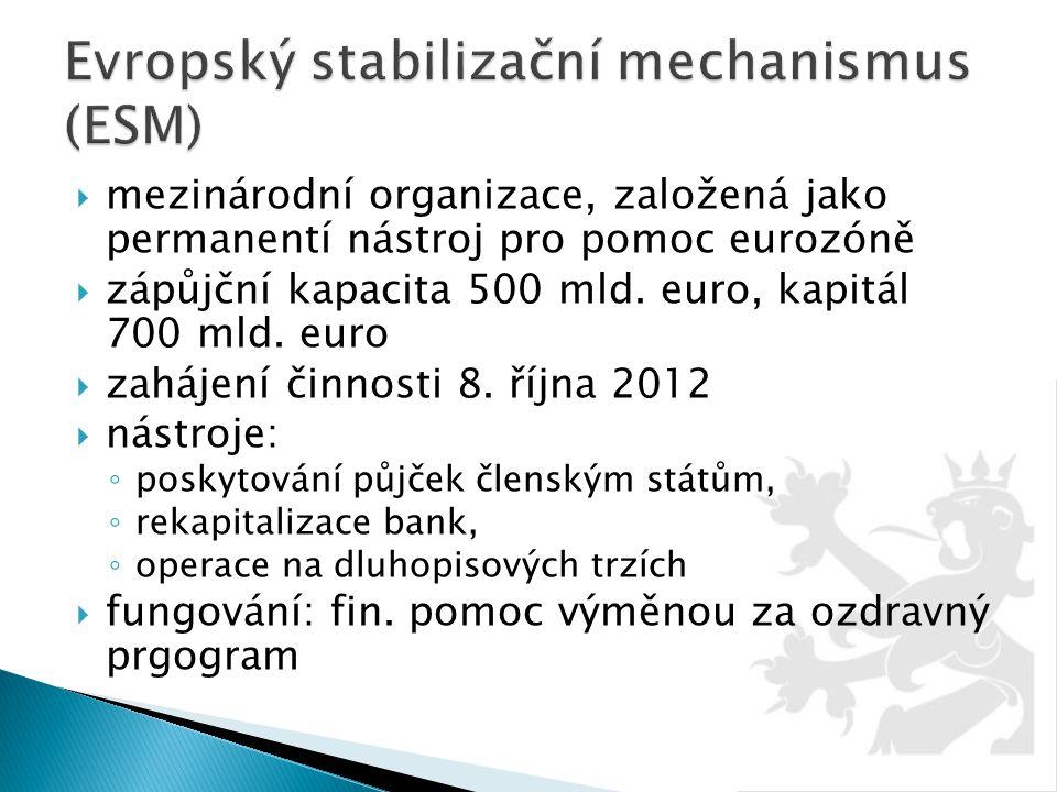  mezinárodní organizace, založená jako permanentí nástroj pro pomoc eurozóně  zápůjční kapacita 500 mld. euro, kapitál 700 mld. euro  zahájení činn