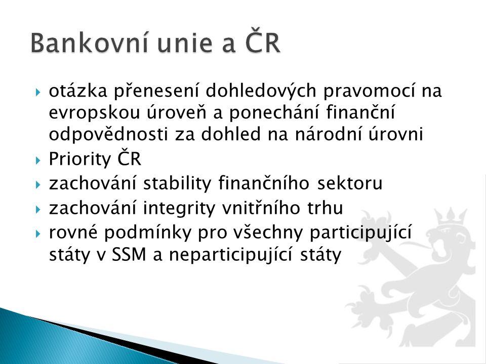  otázka přenesení dohledových pravomocí na evropskou úroveň a ponechání finanční odpovědnosti za dohled na národní úrovni  Priority ČR  zachování s