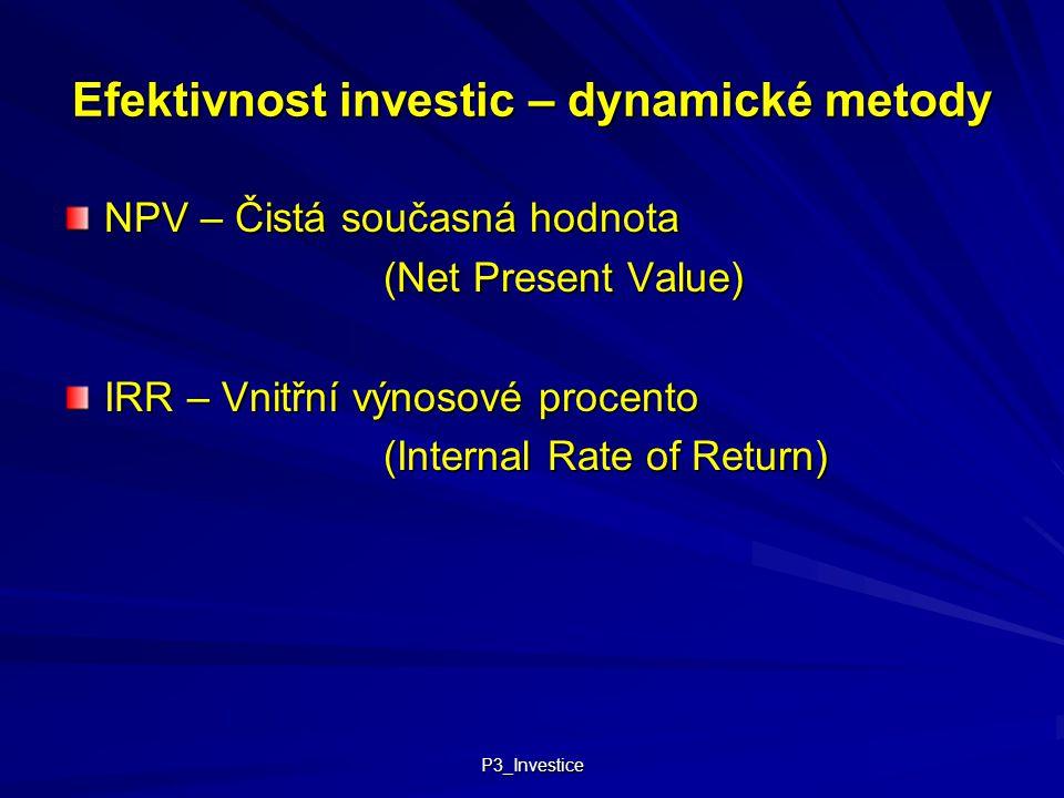 P3_Investice Efektivnost investic – dynamické metody NPV – Čistá současná hodnota (Net Present Value) IRR – Vnitřní výnosové procento (Internal Rate o