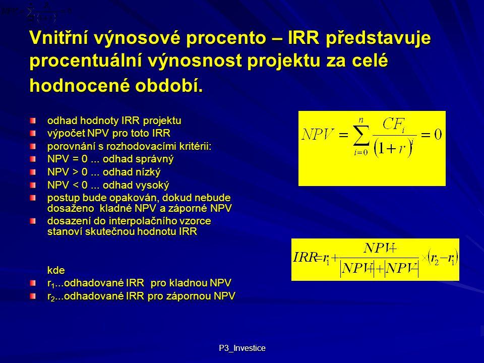 P3_Investice Vnitřní výnosové procento – IRR představuje procentuální výnosnost projektu za celé hodnocené období. odhad hodnoty IRR projektu výpočet