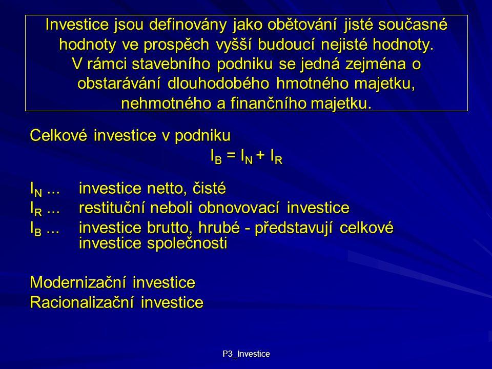 P3_Investice Investice jsou definovány jako obětování jisté současné hodnoty ve prospěch vyšší budoucí nejisté hodnoty. V rámci stavebního podniku se