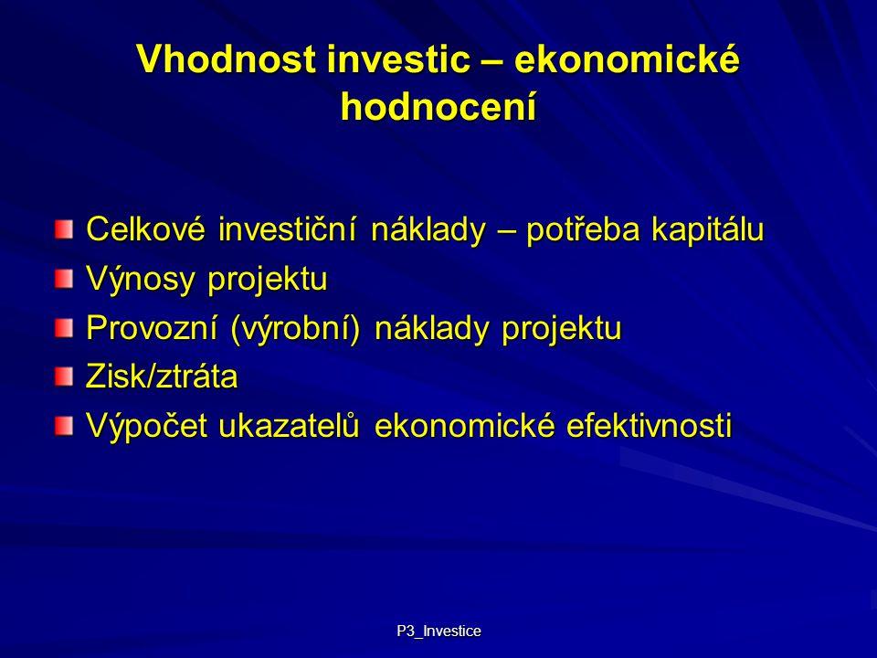 P3_Investice Vhodnost investic – ekonomické hodnocení Celkové investiční náklady – potřeba kapitálu Výnosy projektu Provozní (výrobní) náklady projekt