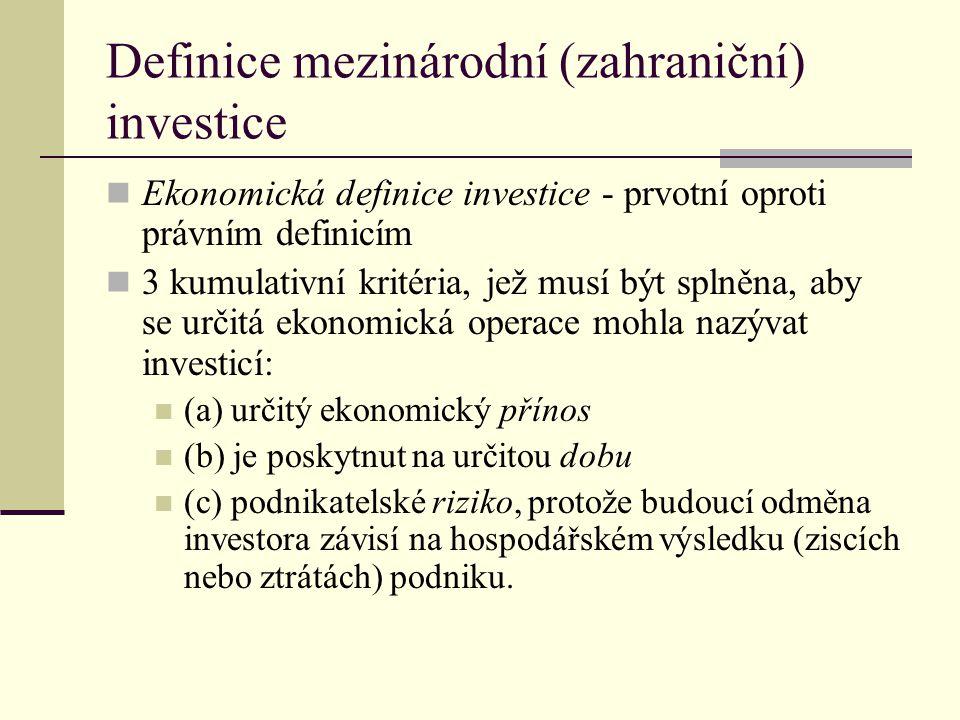 Definice mezinárodní (zahraniční) investice (2) Právní definice investice v mezinárodním právu jednotná definice investice jednotlivé mezinárodní instrumenty vymezují tento pojem různým způsobem Washingtonská úmluva o řešení sporů z investic mezi státy a občany druhých států (1965) – žádná definice Dvoustranné dohody o ochraně investic (BIT) - široká definice investice: jakákoliv majetková hodnota na území jedné smluvní strany, která je vlastněna nebo i přímo či nepřímo kontrolována státními příslušníky nebo společnostmi (investory) druhé smluvní strany