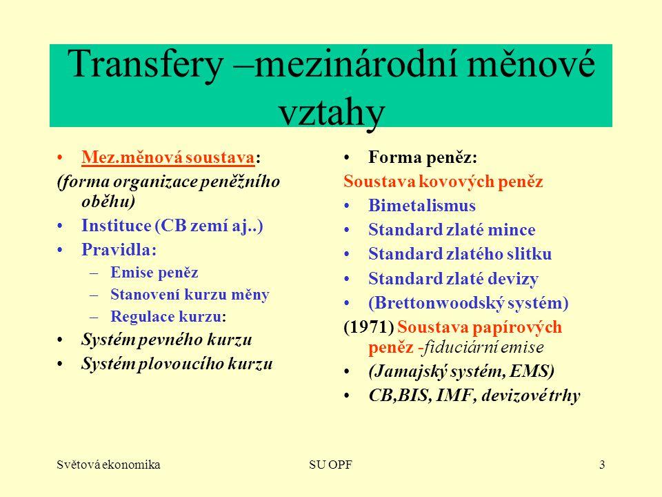 Světová ekonomikaSU OPF3 Transfery –mezinárodní měnové vztahy Mez.měnová soustava: (forma organizace peněžního oběhu) Instituce (CB zemí aj..) Pravidl