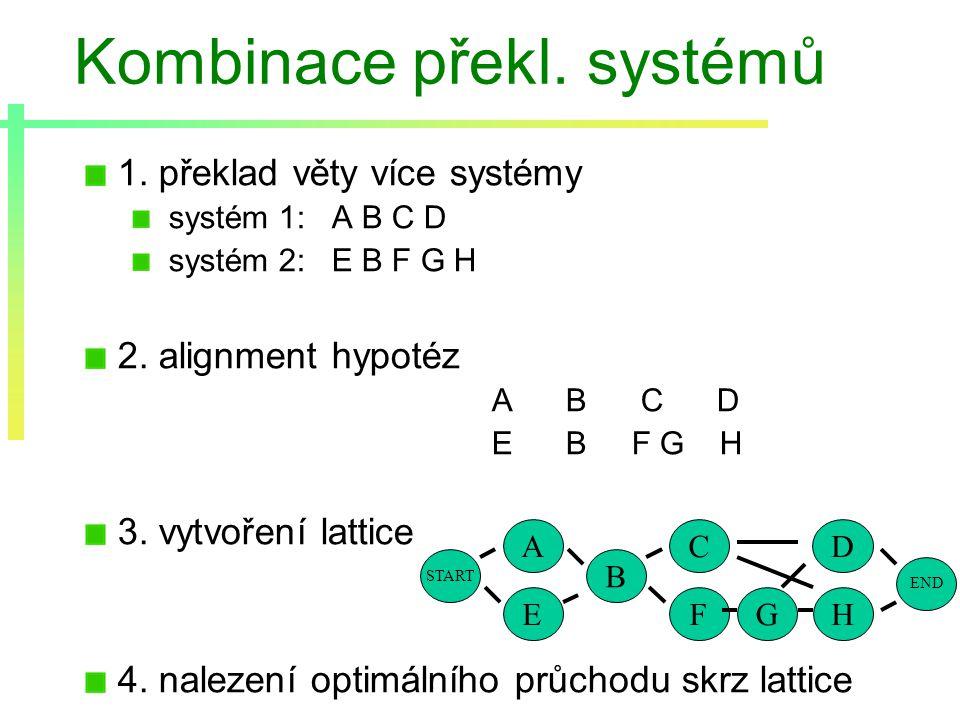 Kombinace překl. systémů 1. překlad věty více systémy systém 1: A B C D systém 2: E B F G H 2.