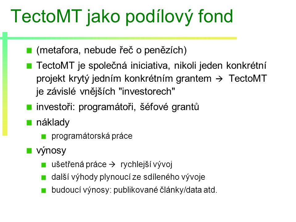 TectoMT jako podílový fond (metafora, nebude řeč o penězích) TectoMT je společná iniciativa, nikoli jeden konkrétní projekt krytý jedním konkrétním grantem  TectoMT je závislé vnějších investorech investoři: programátoři, šéfové grantů náklady programátorská práce výnosy ušetřená práce  rychlejší vývoj další výhody plynoucí ze sdíleného vývoje budoucí výnosy: publikované články/data atd.