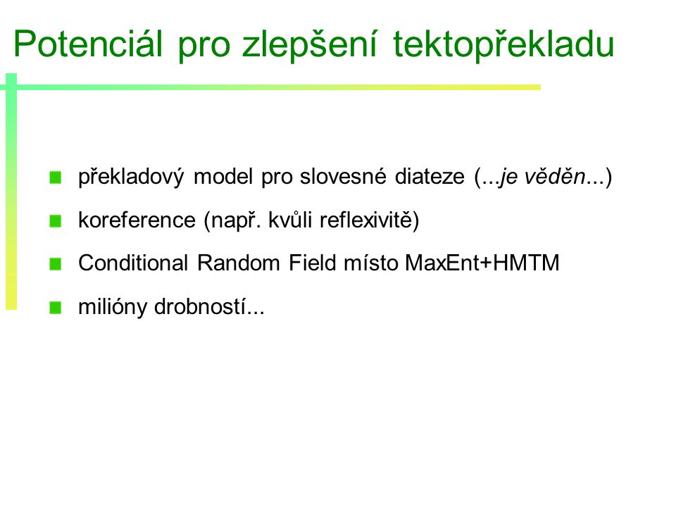 Potenciál pro zlepšení tektopřekladu překladový model pro slovesné diateze (...je věděn...) koreference (např.