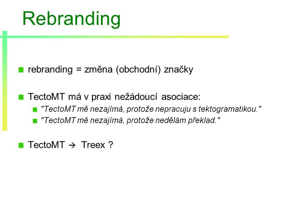 Rebranding rebranding = změna (obchodní) značky TectoMT má v praxi nežádoucí asociace: TectoMT mě nezajímá, protože nepracuju s tektogramatikou. TectoMT mě nezajímá, protože nedělám překlad. TectoMT  Treex